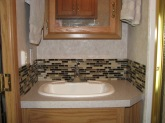 Bathroom backsplash and faucet