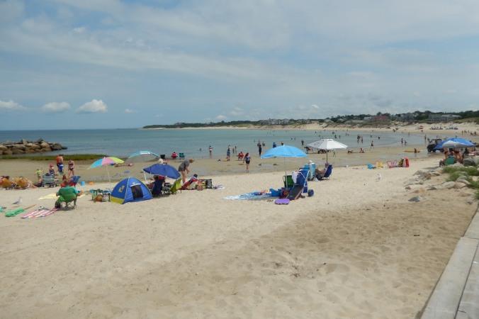 Sun bathers on Race Beach
